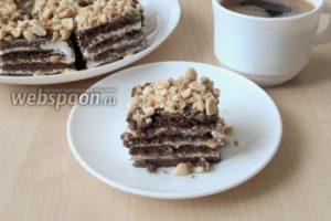 Шоколадное пирожное с солёным арахисом без выпечки